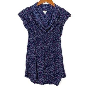 Anthropologie Odille Nave Blue Cowl Neck Blouse